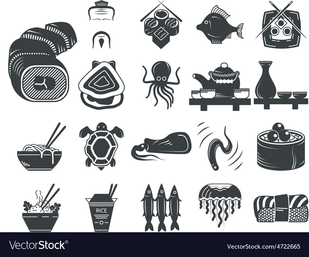 Black icons for asian and seafood menu vector | Price: 1 Credit (USD $1)