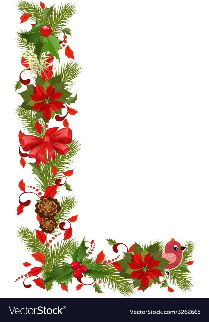 Christmas floral tree letter l vector | Price: 1 Credit (USD $1)