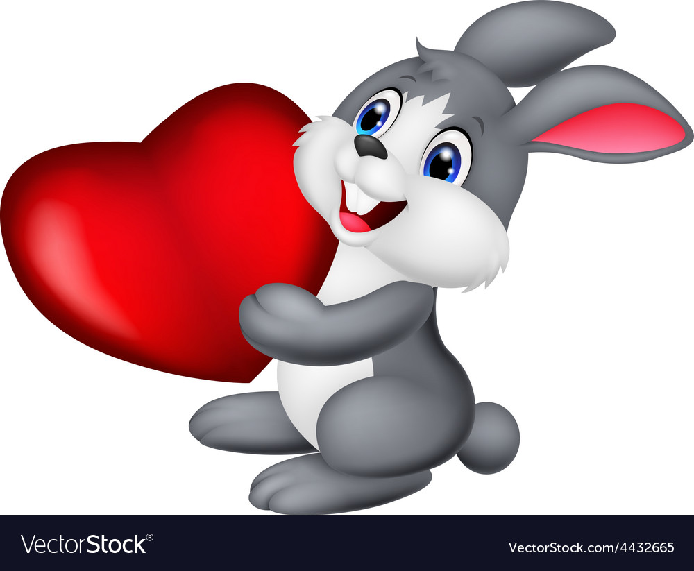 Cute little bunny holds red hart vector | Price: 1 Credit (USD $1)