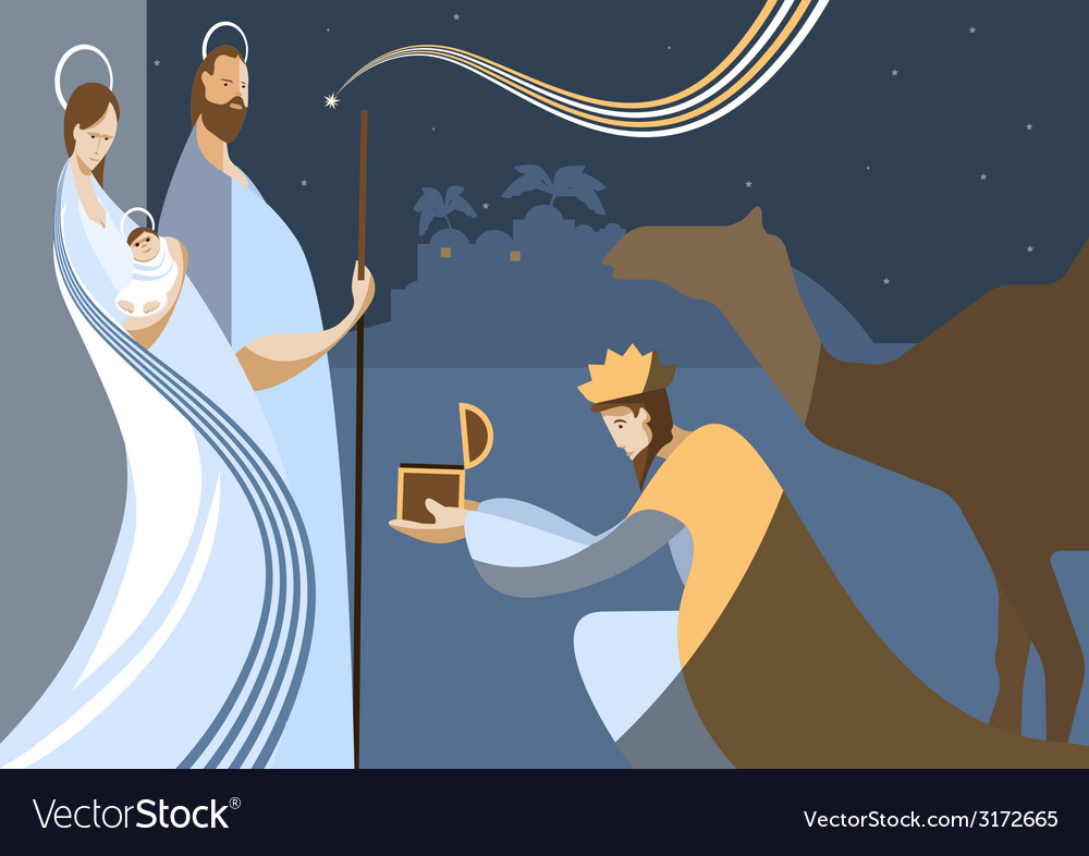 Flat nativity scene vector | Price: 1 Credit (USD $1)