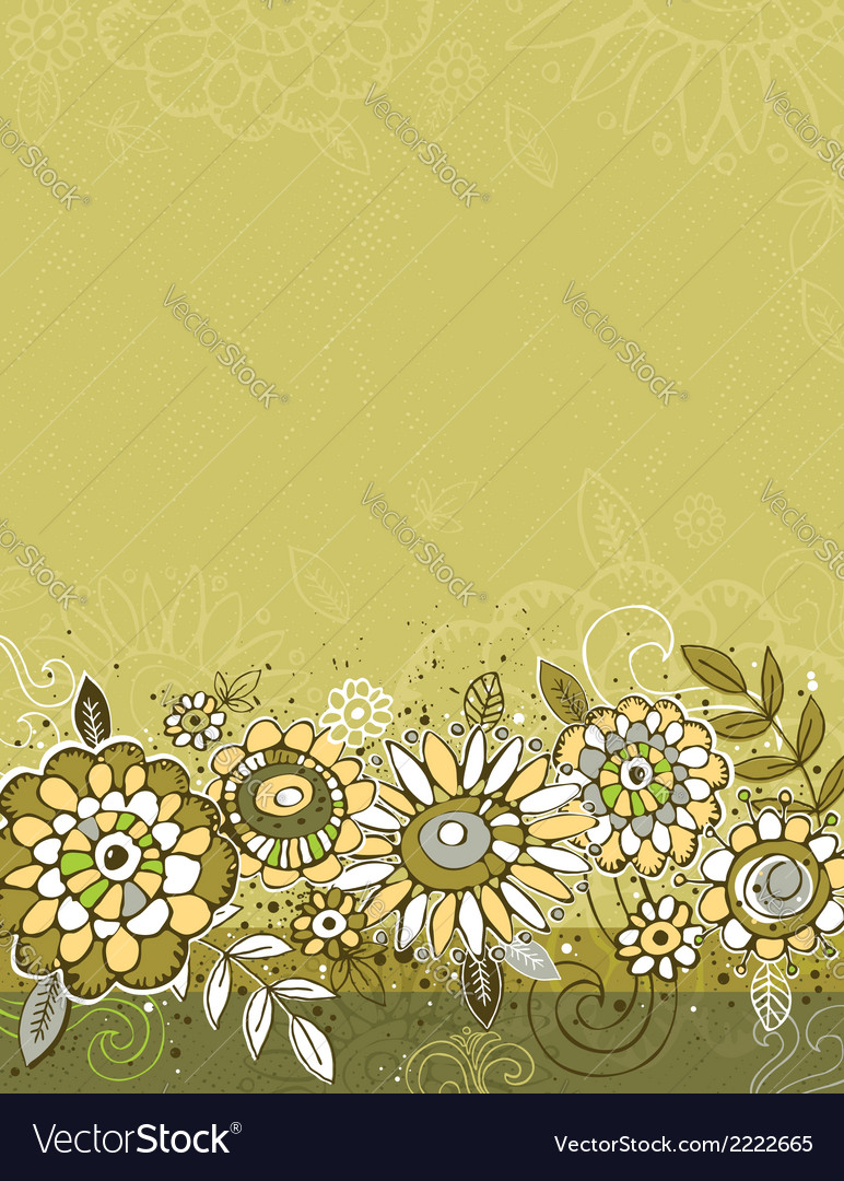 Hand draw flowers on green background vector   Price: 1 Credit (USD $1)
