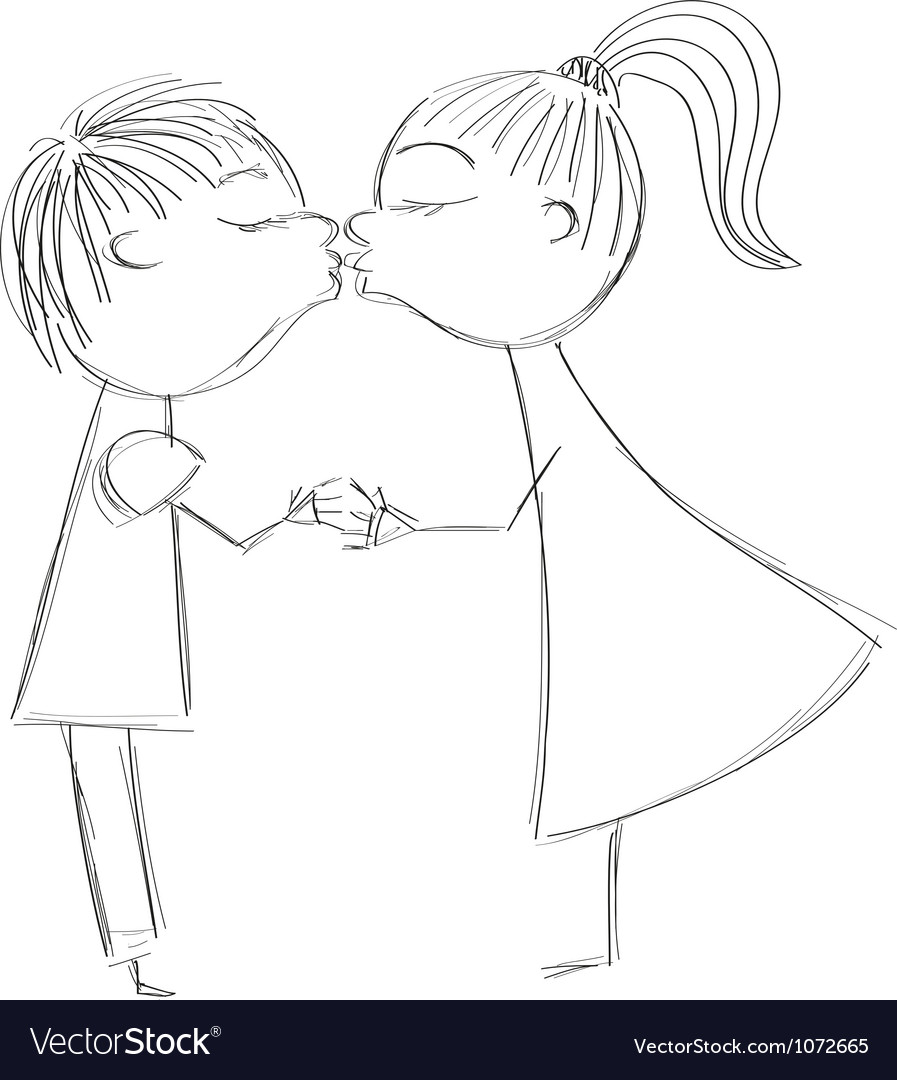Hand drawing girl and boy kiss vector | Price: 1 Credit (USD $1)