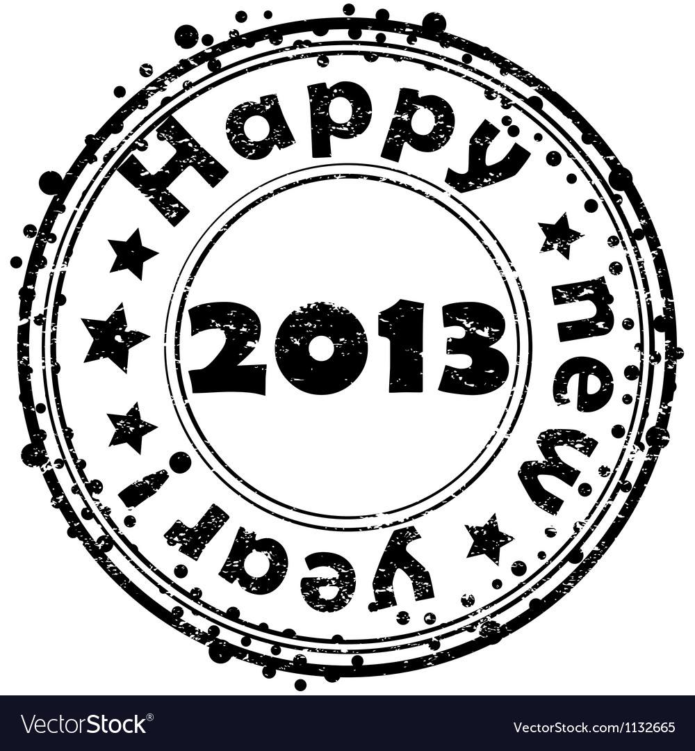 Happy new year 2013 stamp vector | Price: 1 Credit (USD $1)