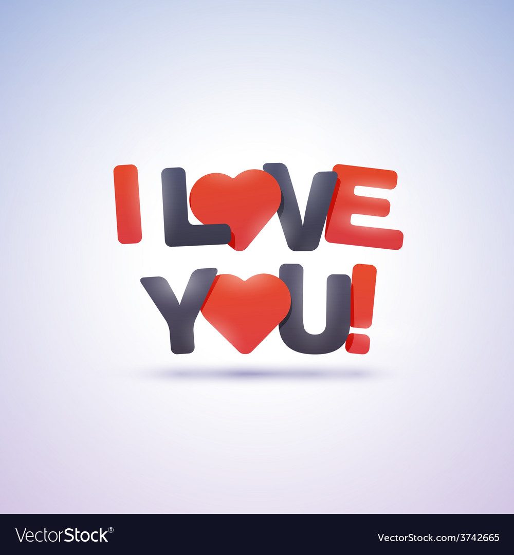 I love you text with hearts vector | Price: 1 Credit (USD $1)