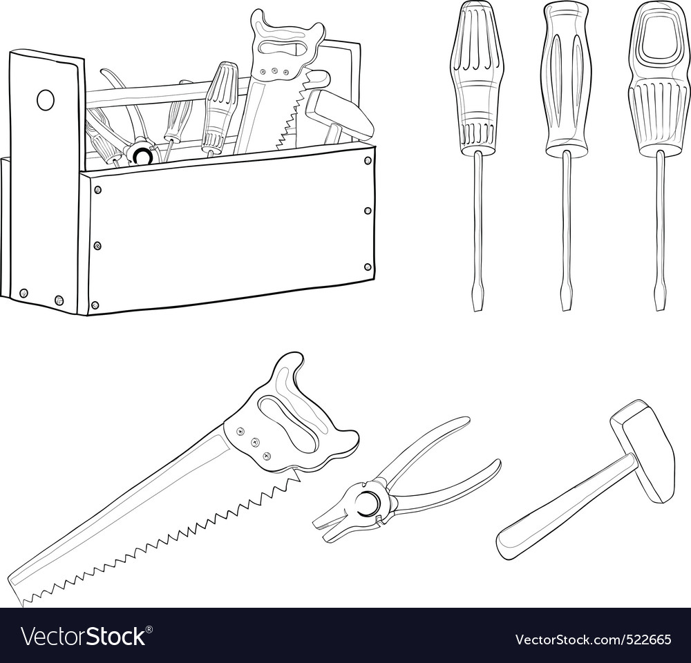 Tools contours set vector | Price: 1 Credit (USD $1)