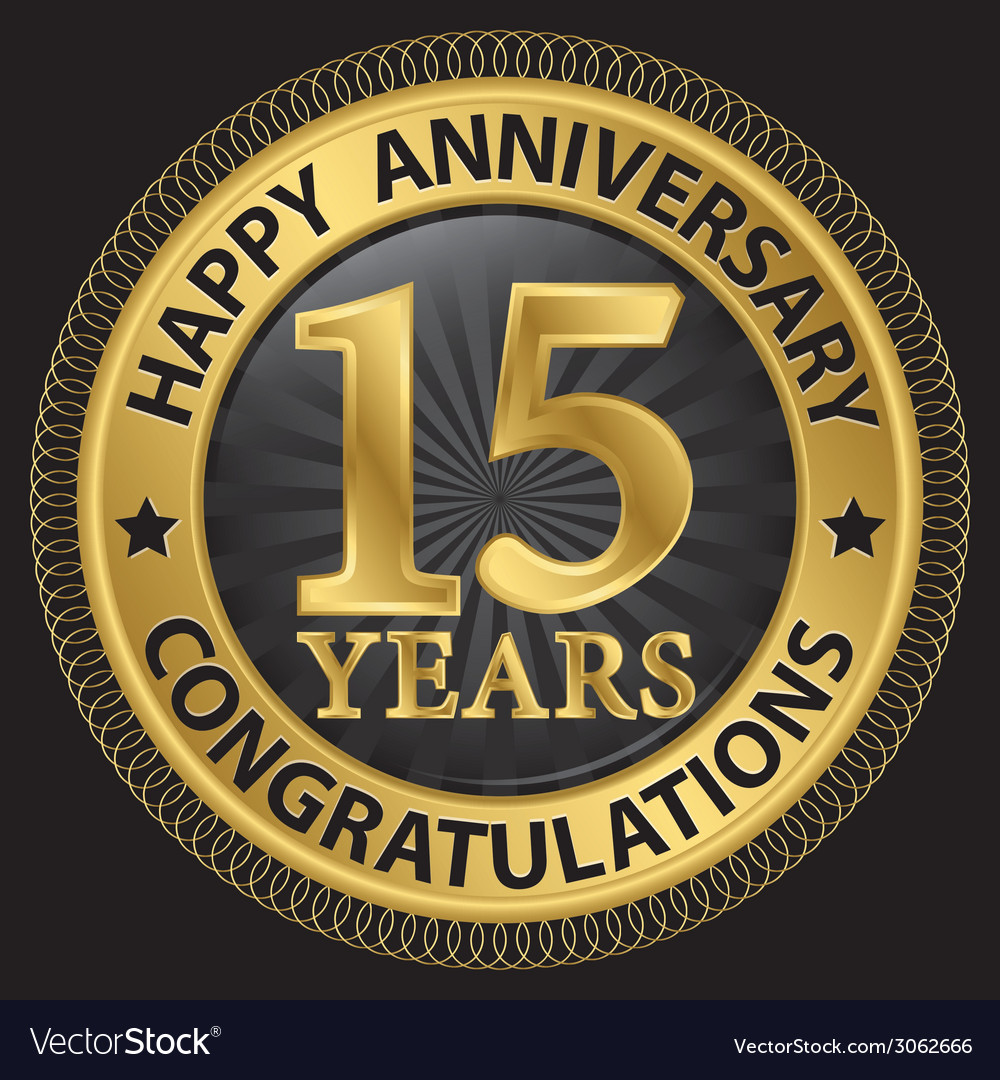 15 years happy anniversary congratulations gold vector | Price: 1 Credit (USD $1)