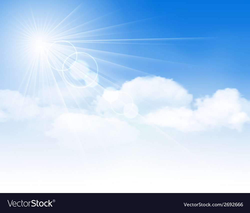 Blue sky with clouds and sun vector | Price: 1 Credit (USD $1)
