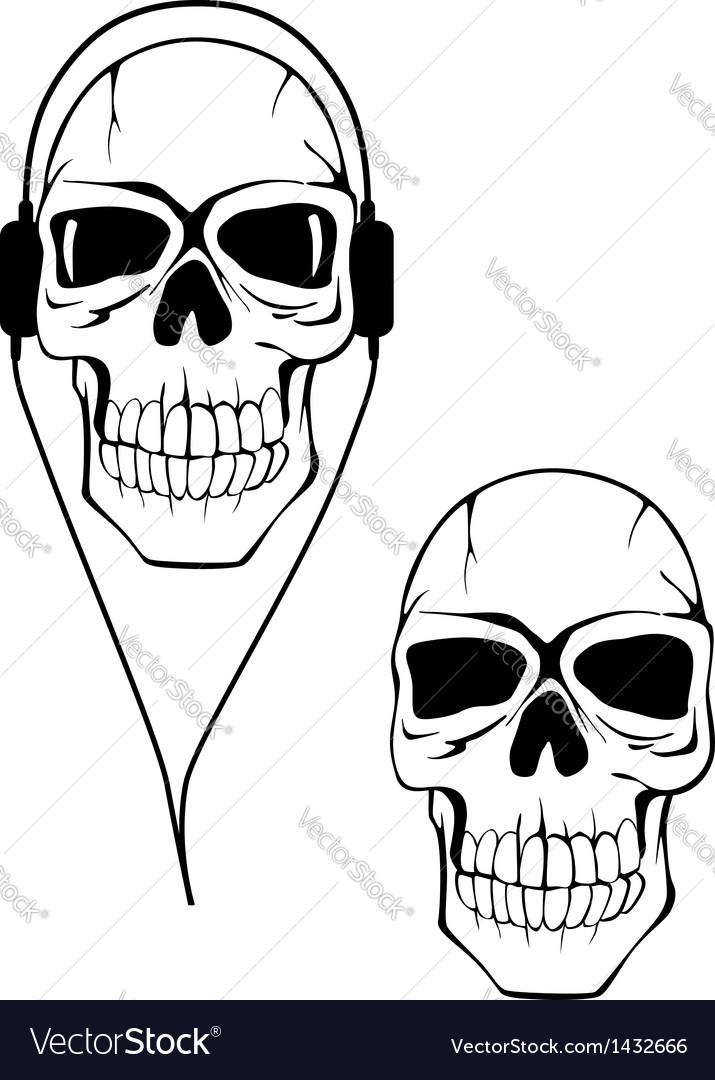 Danger human skull in headphones vector | Price: 1 Credit (USD $1)