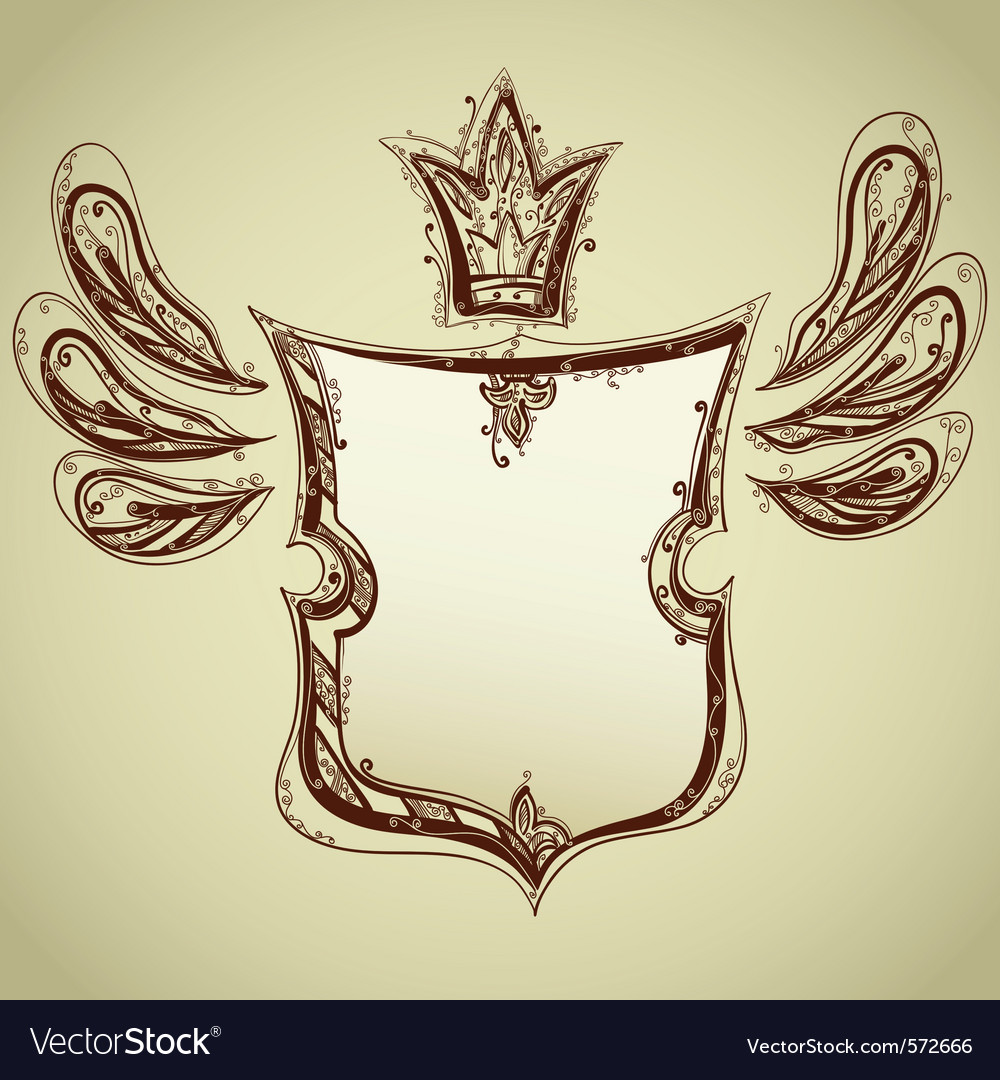Drawing of shield vector