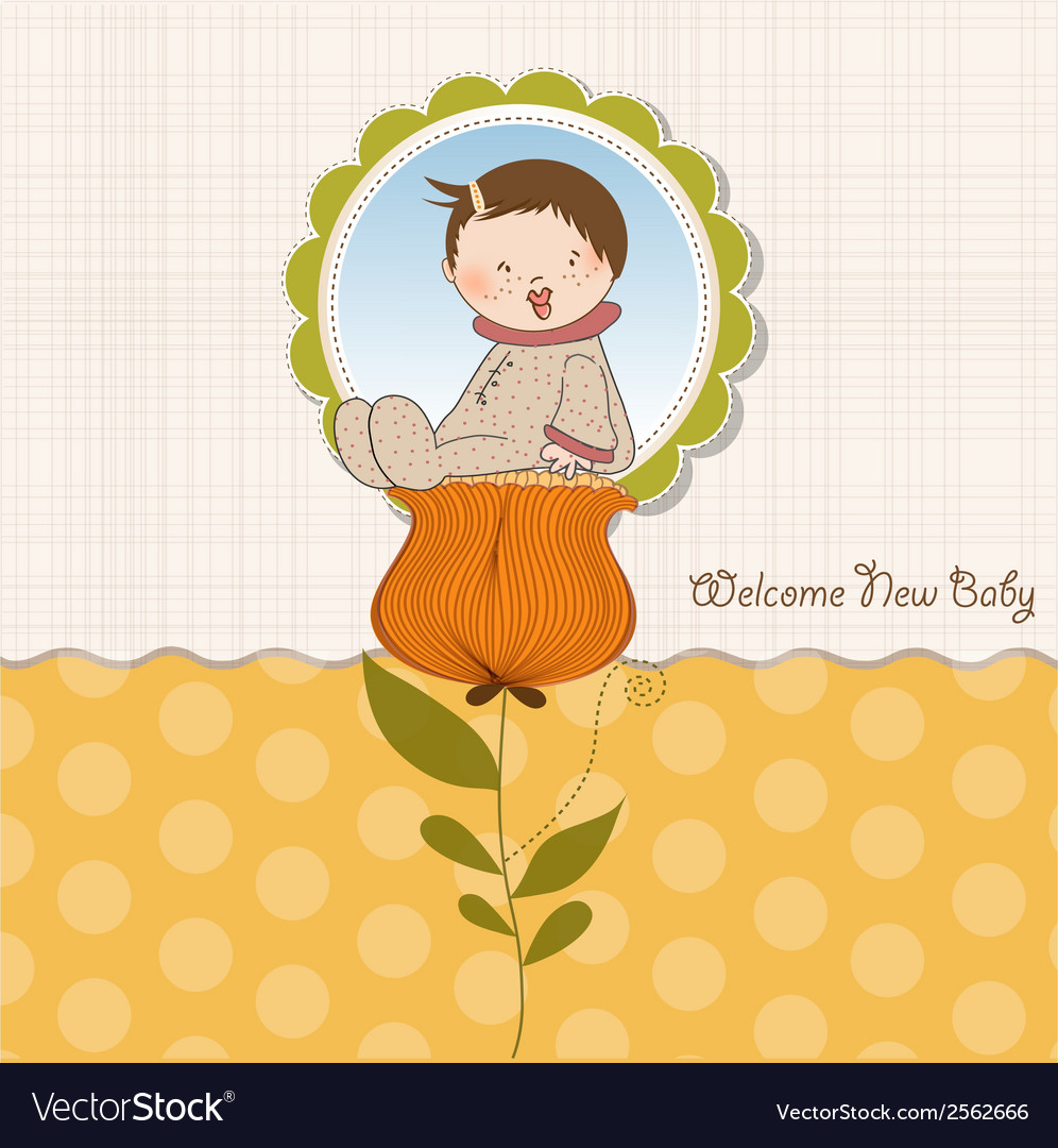 Greeting card with a baby sitting on a flower vector | Price: 1 Credit (USD $1)