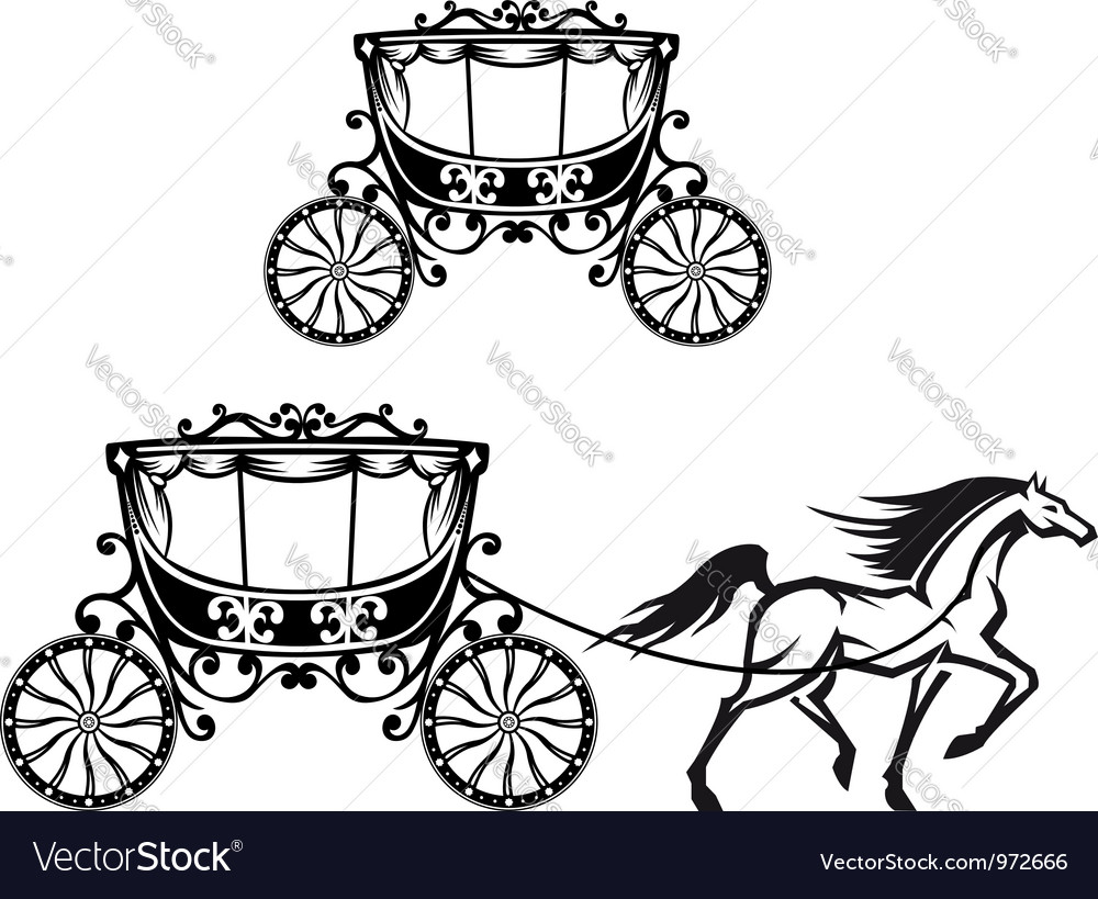 Horse with old carriage vector | Price: 1 Credit (USD $1)