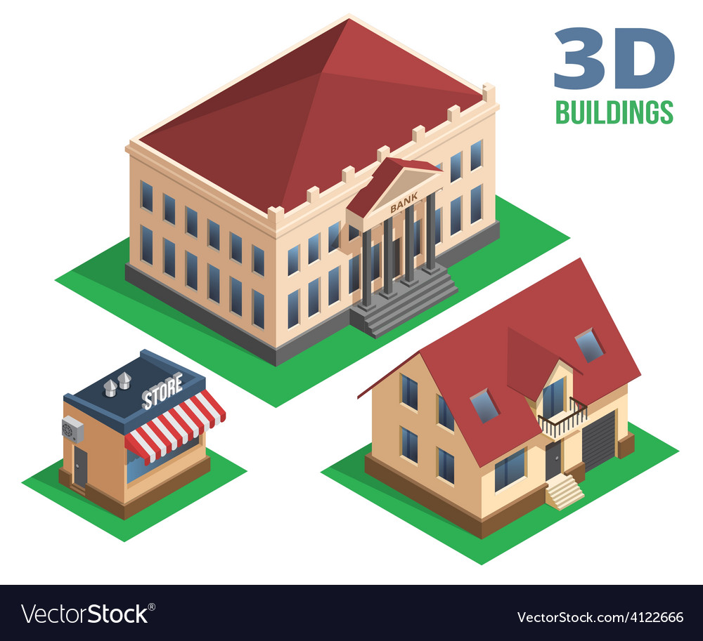 Isometric house store and building designs vector | Price: 1 Credit (USD $1)