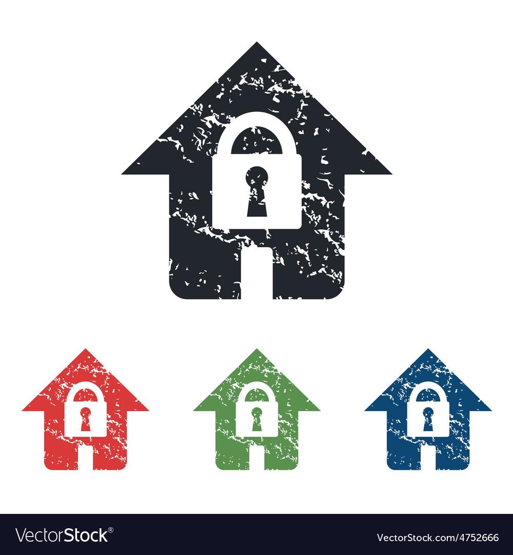 Locked house grunge icon set vector   Price: 1 Credit (USD $1)