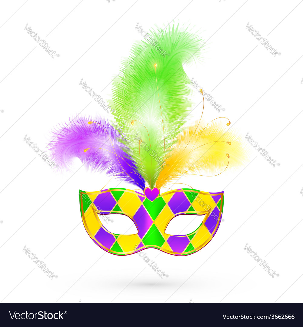 Mardi gras traditional colors mask vector | Price: 1 Credit (USD $1)