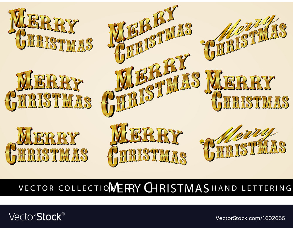 Merry christmas text in gold vector | Price: 1 Credit (USD $1)