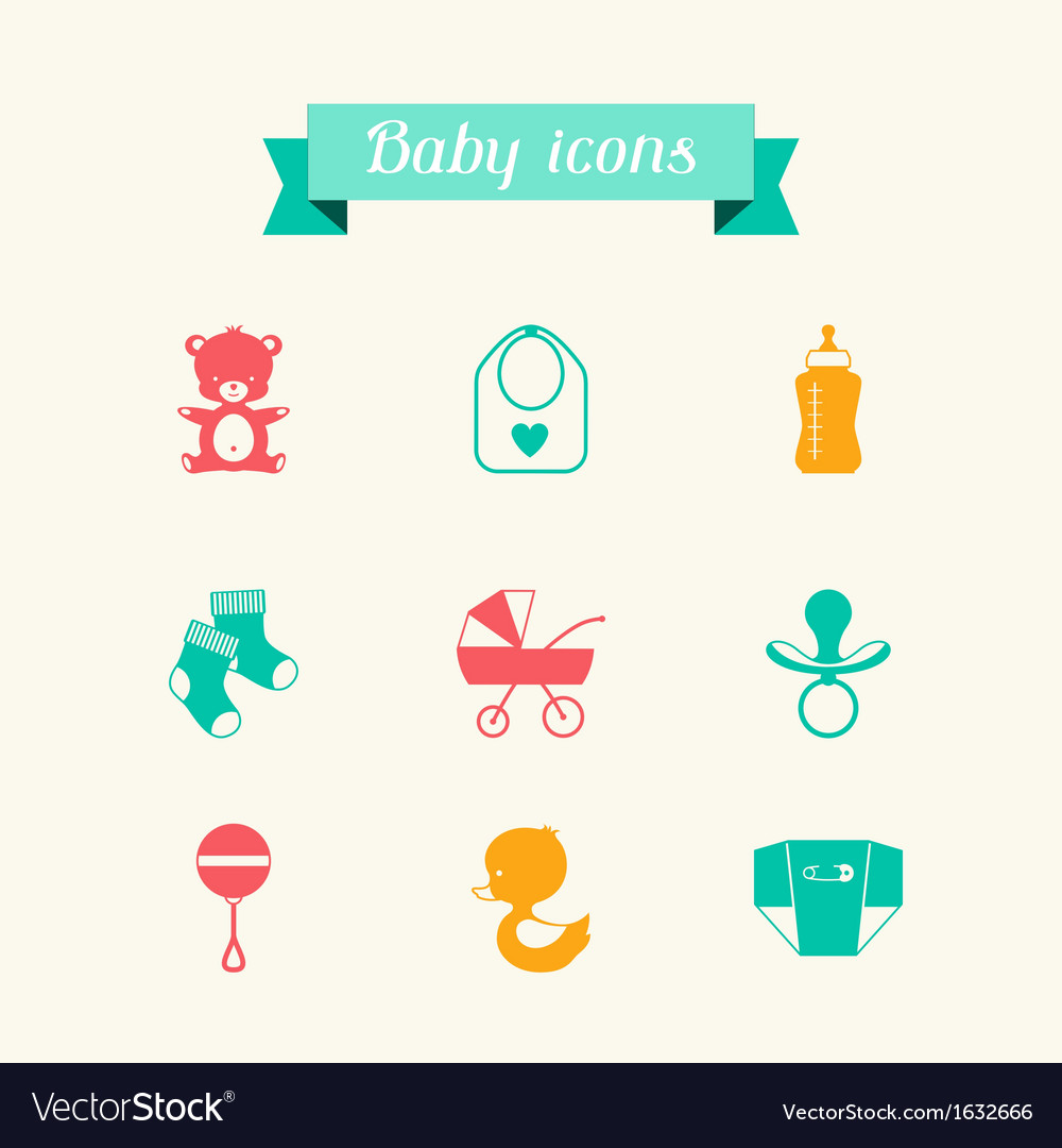 Newborn baby icons set in flat design style vector