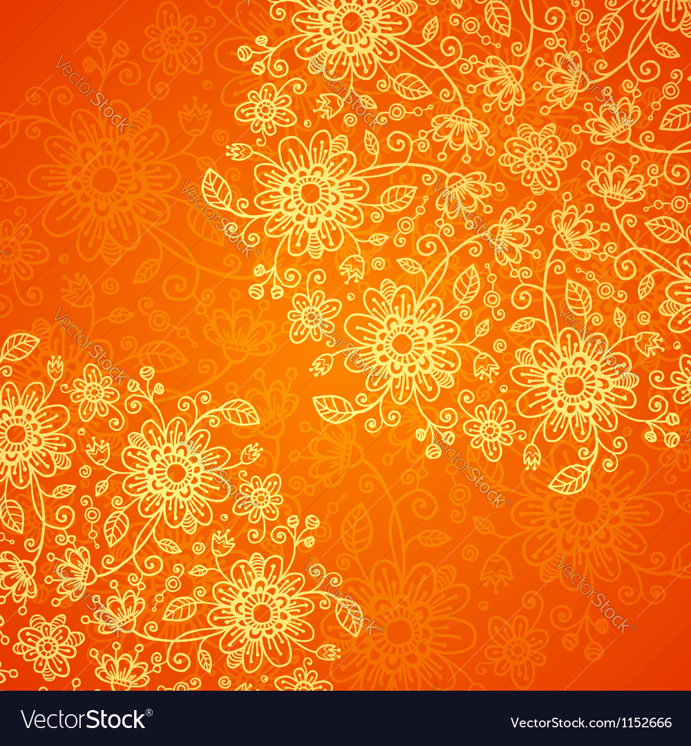 Orange doodle flowers ornate background vector | Price: 1 Credit (USD $1)