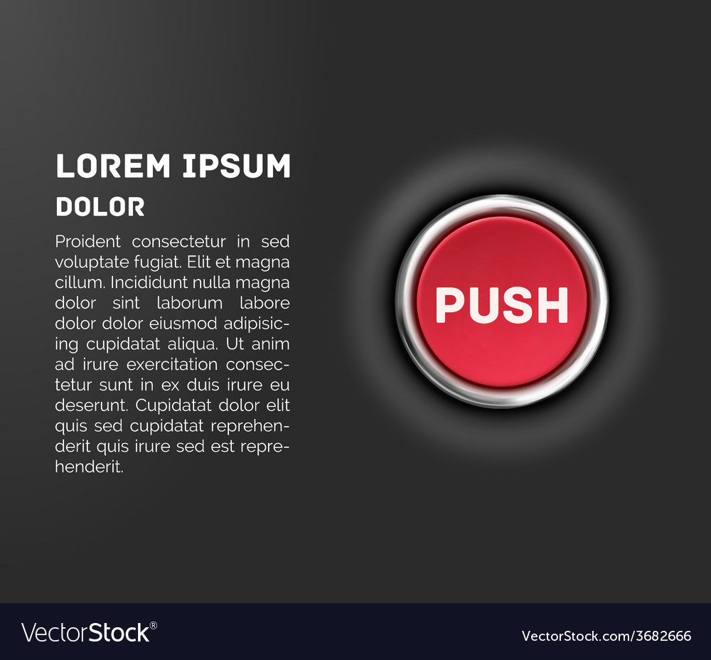 Push button 3d red glossy metallic icon template vector | Price: 1 Credit (USD $1)