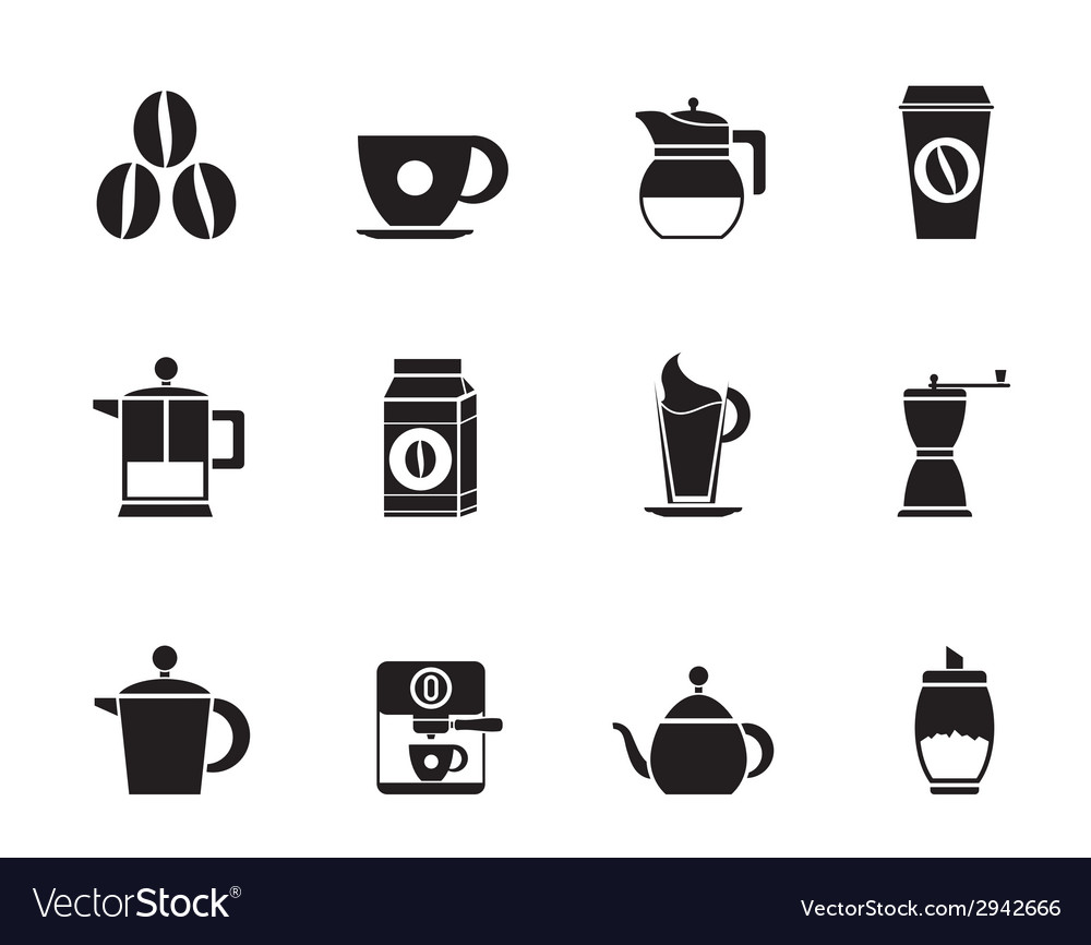 Silhouette coffee industry signs and icons vector | Price: 1 Credit (USD $1)