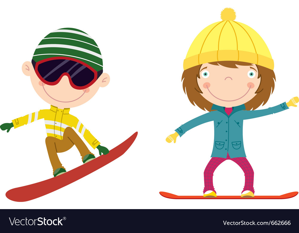 Snowboarding kids vector | Price: 1 Credit (USD $1)