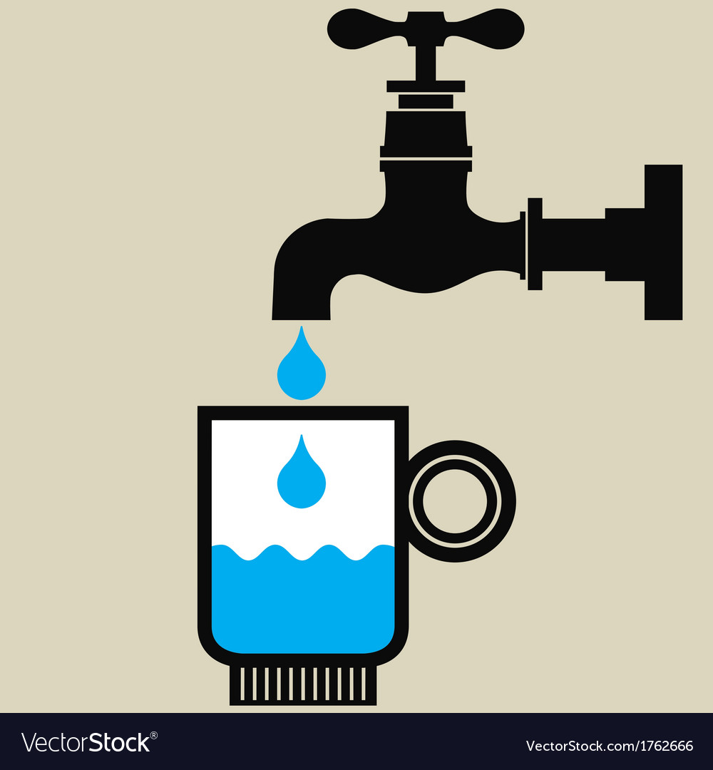 Tap and glass with water vector | Price: 1 Credit (USD $1)