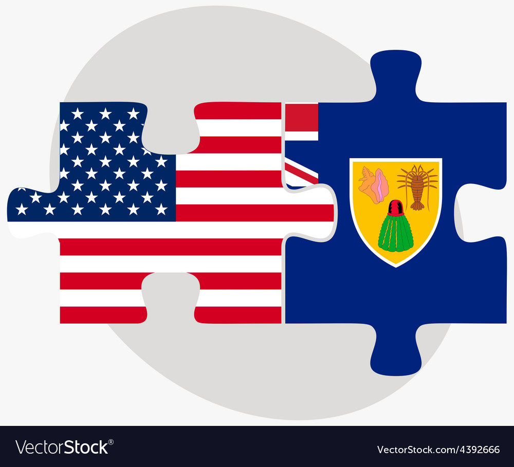 Usa and turks and caicos islands flags in puzzle vector | Price: 1 Credit (USD $1)