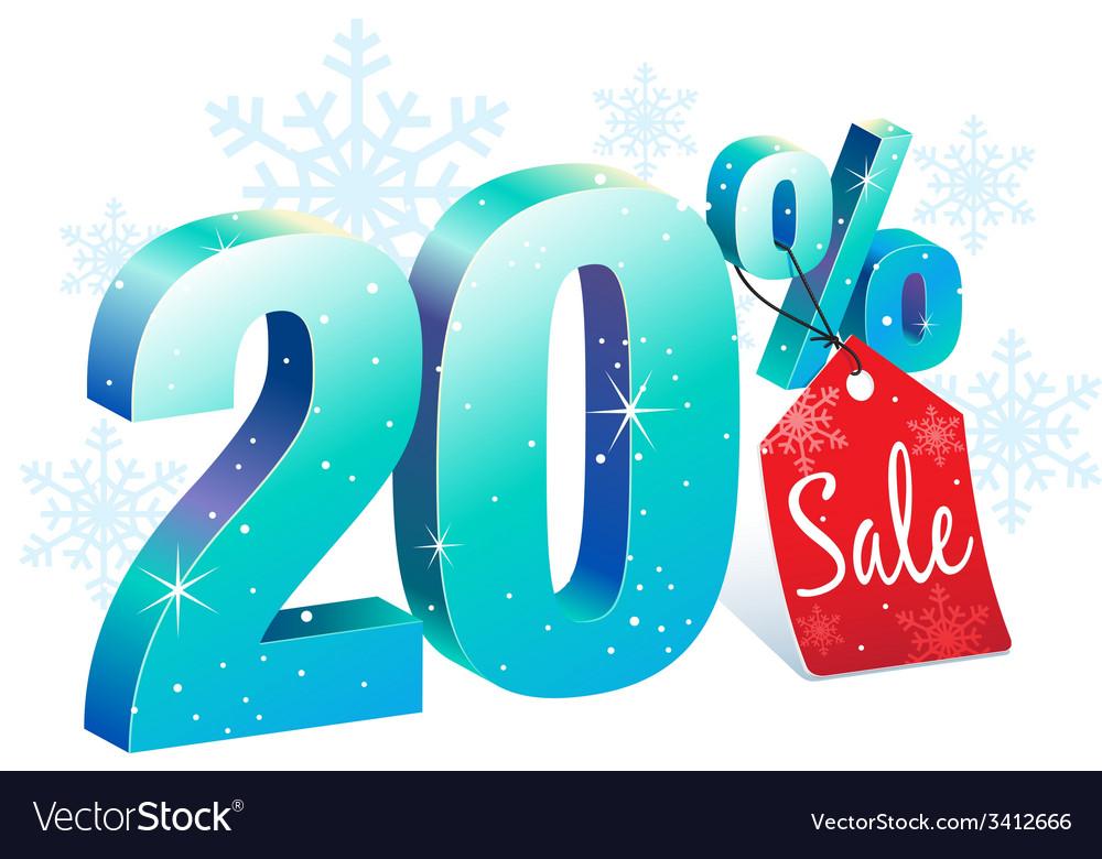 Winter sale 20 percent off vector | Price: 1 Credit (USD $1)