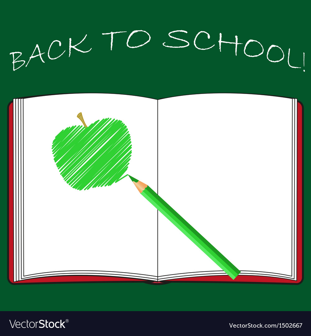 Back to school school books with apple on desk vector | Price: 1 Credit (USD $1)