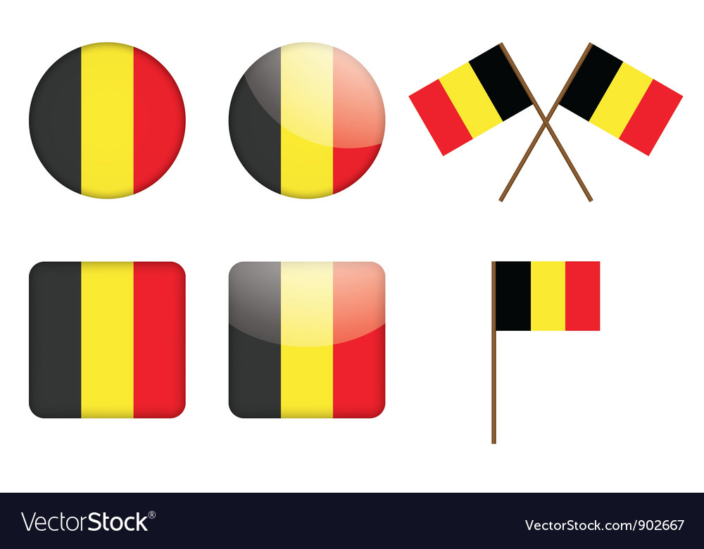 Badges with flag of belgium vector | Price: 1 Credit (USD $1)