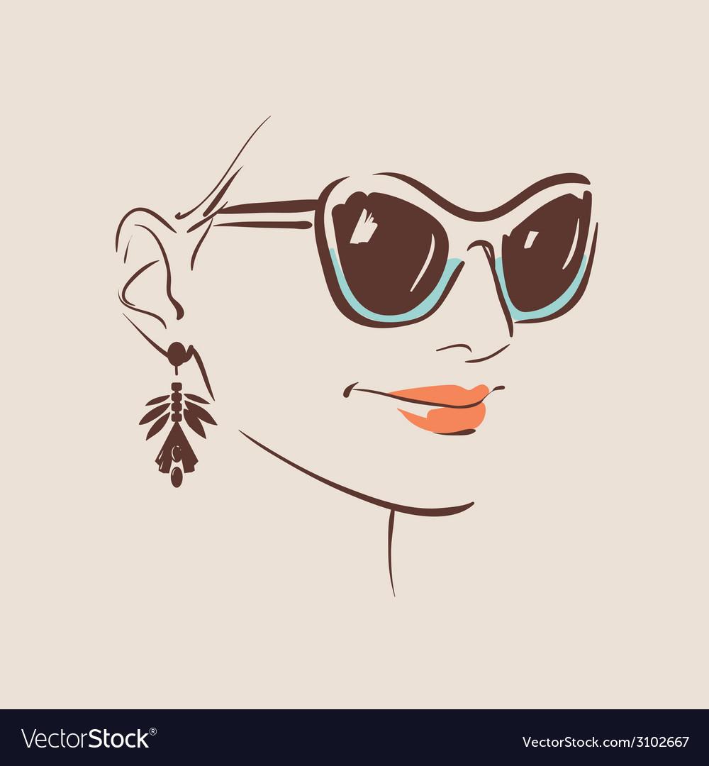 Beautiful woman wearing sunglasses vector | Price: 1 Credit (USD $1)