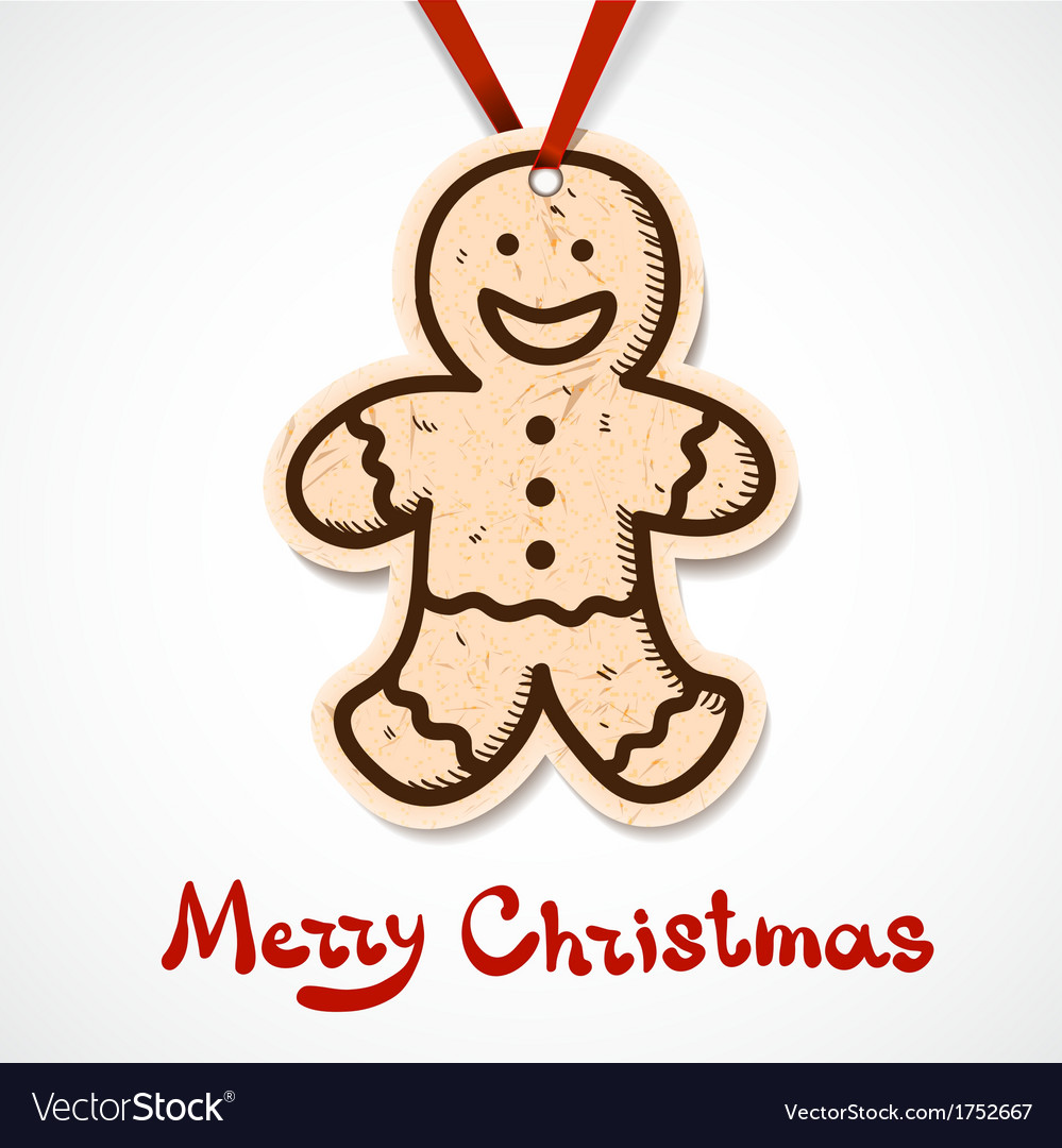 Gingerbread cookie paper label on ribbon vector   Price: 1 Credit (USD $1)
