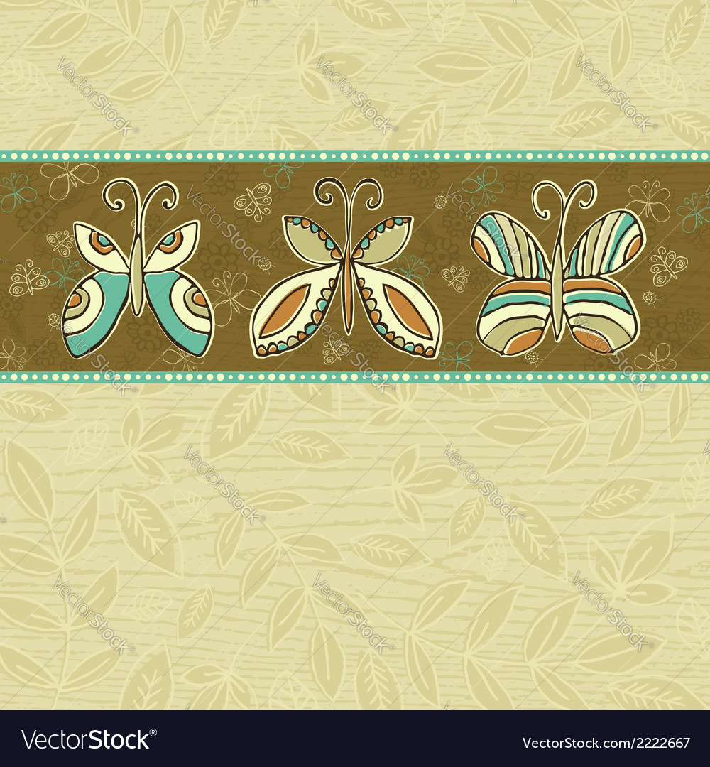 Hand draw butterflies on beige squares background vector | Price: 1 Credit (USD $1)