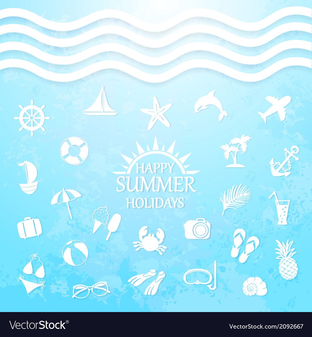 Happy summer holiday sea icons vector | Price: 1 Credit (USD $1)