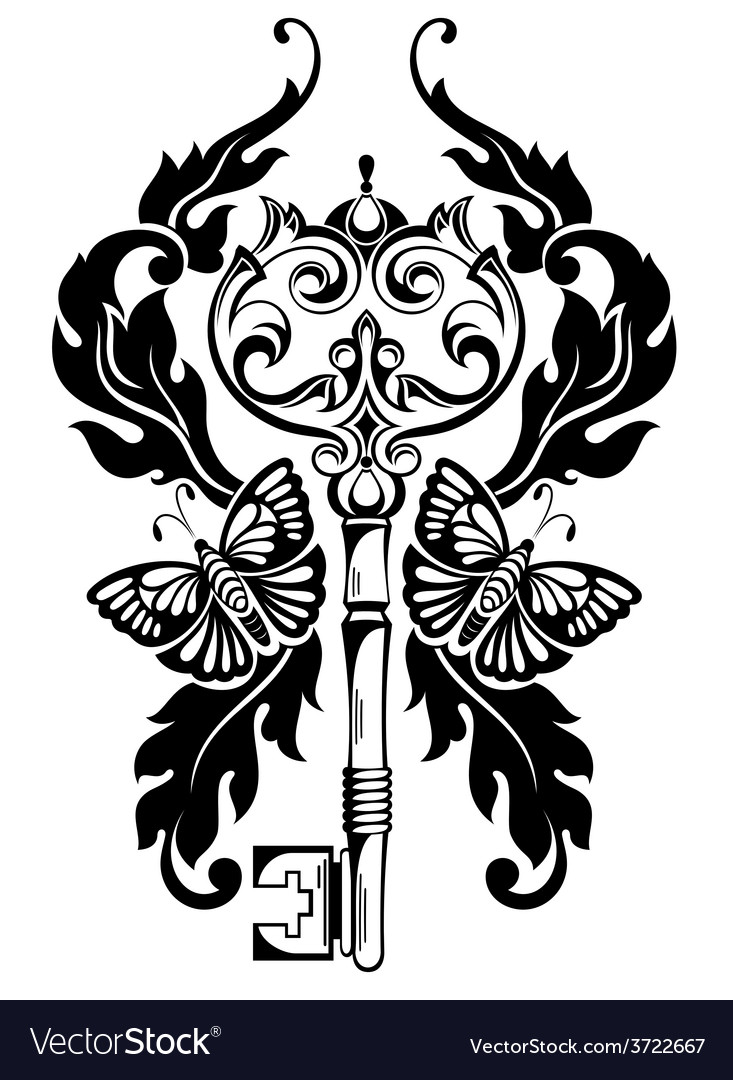 Key tattoo vector | Price: 1 Credit (USD $1)