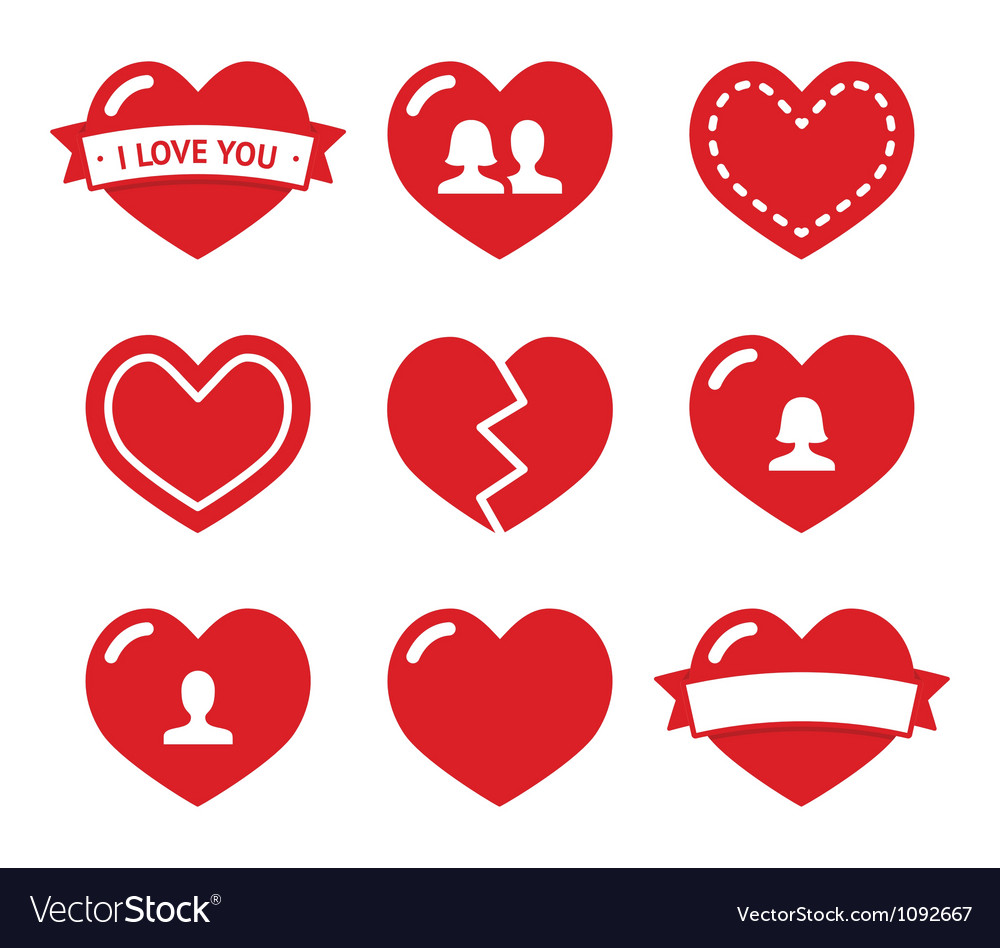 Love hearts icons set for valentines day vector | Price: 1 Credit (USD $1)