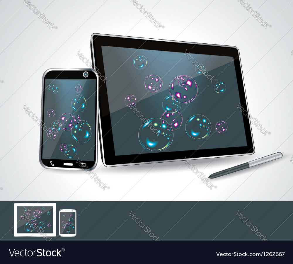Set of blank generic tablet pc and smartphones vector | Price: 3 Credit (USD $3)