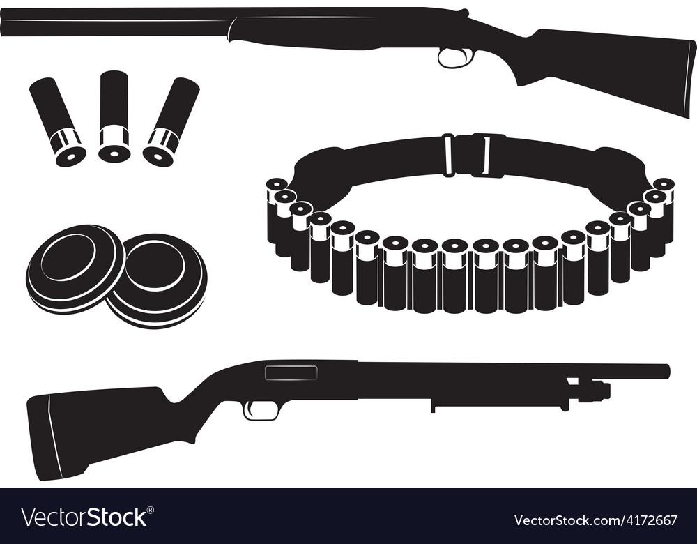 Set of shotgun and hunting equipment vector   Price: 1 Credit (USD $1)