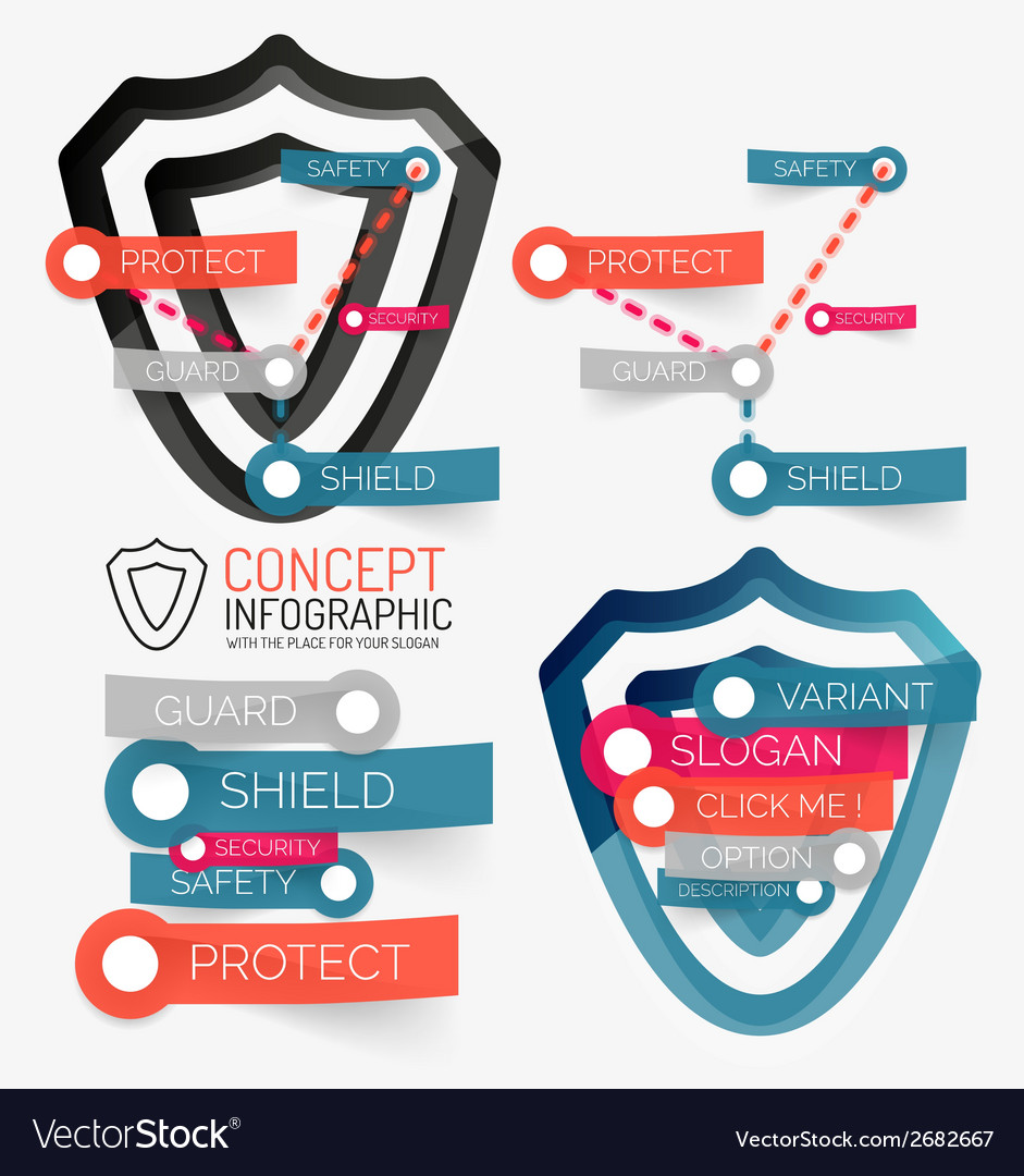 Shield protection infographic vector | Price: 1 Credit (USD $1)