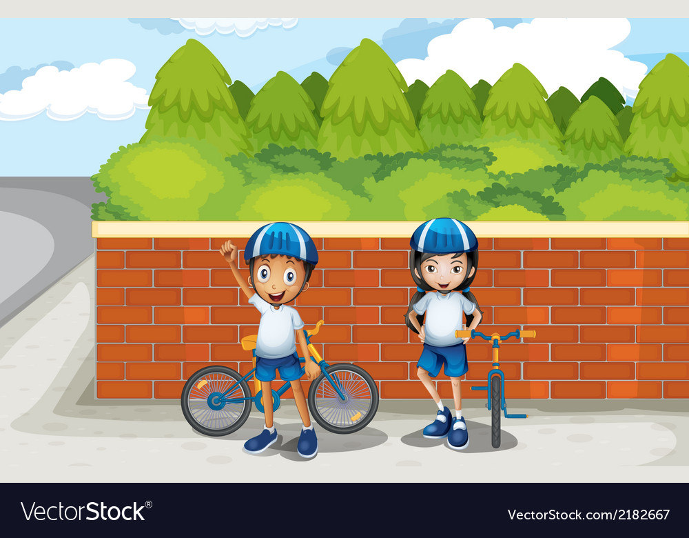 Two young bikers at the street vector   Price: 1 Credit (USD $1)