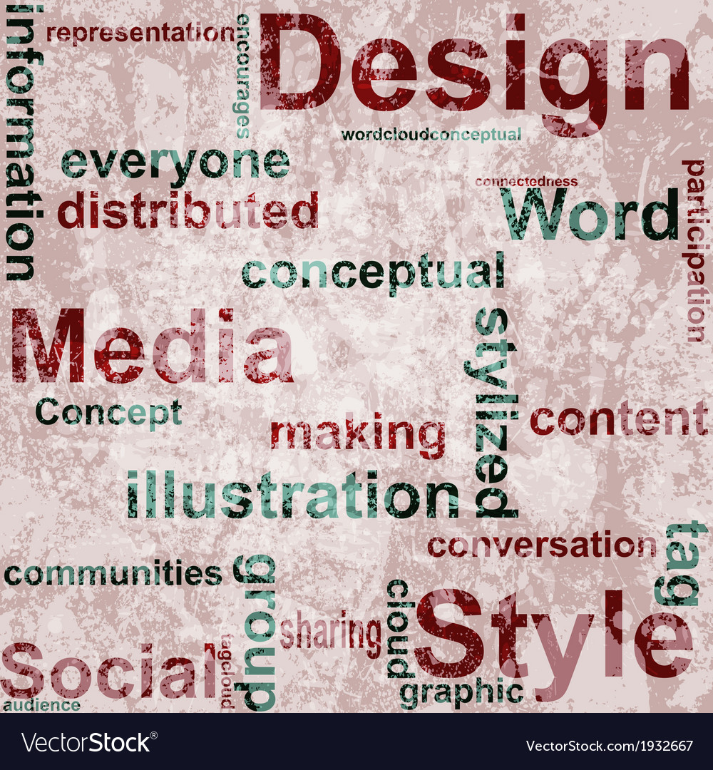 Word grunge collage on background vector | Price: 1 Credit (USD $1)