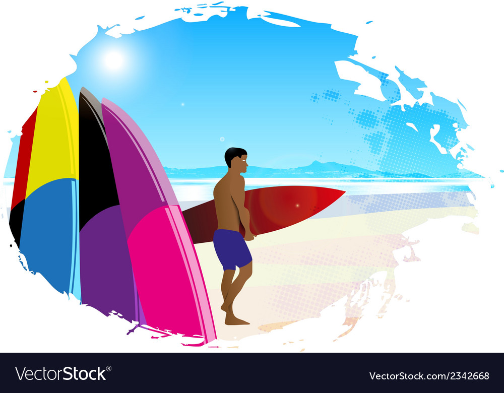 Artistic designed background with surfer vector | Price: 1 Credit (USD $1)