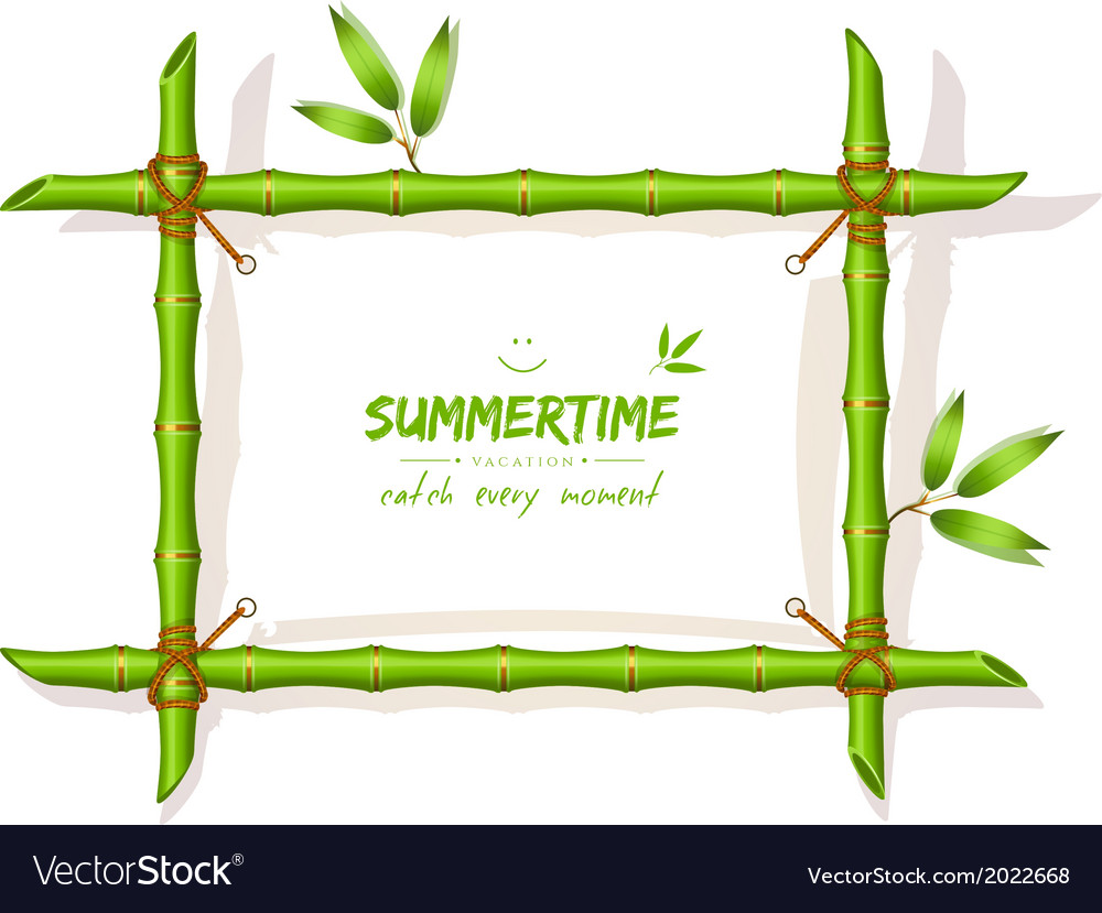 Background with green bamboo frame vector | Price: 1 Credit (USD $1)