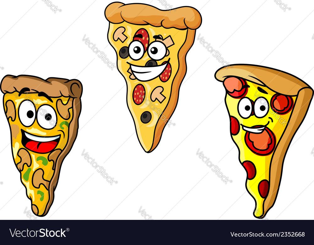 Cartoon pizza slices vector | Price: 1 Credit (USD $1)