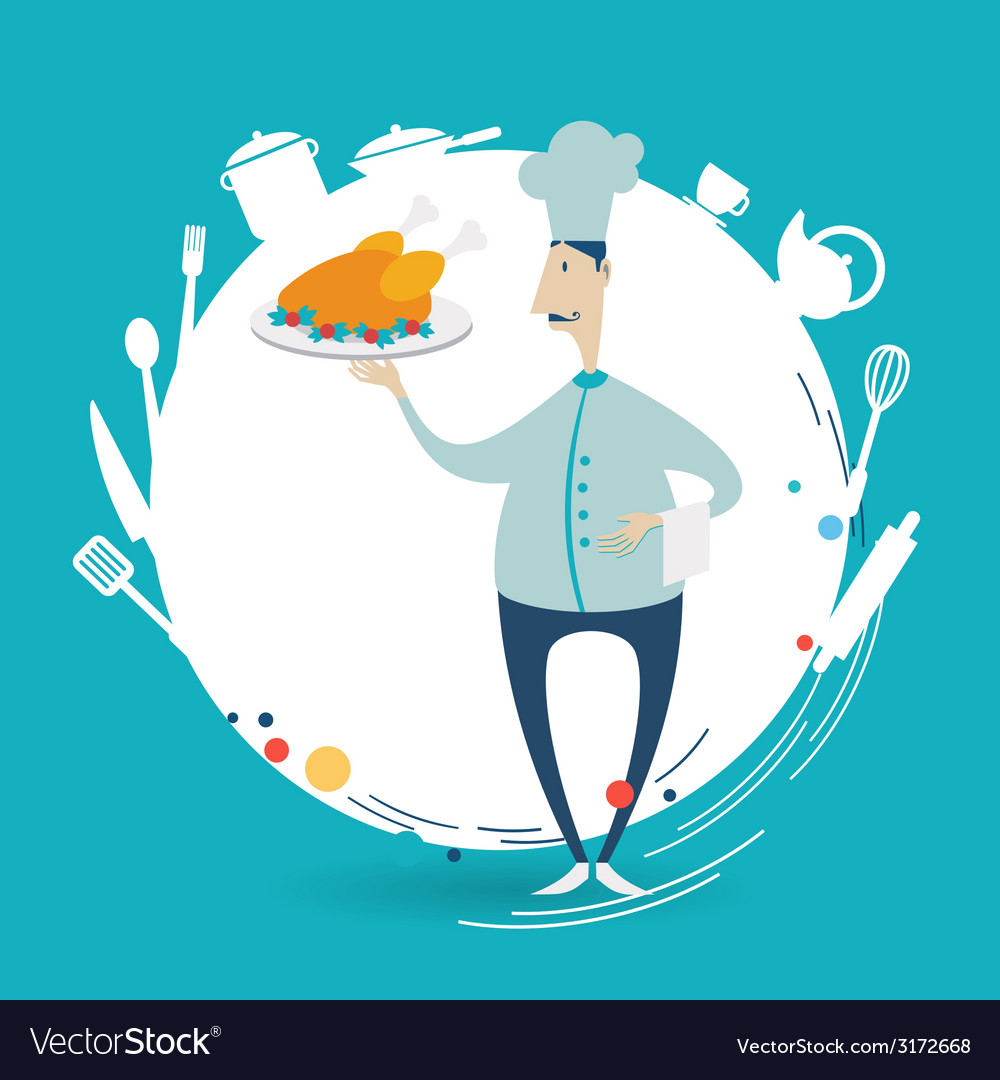 Chef holding a tray with chicken vector | Price: 1 Credit (USD $1)