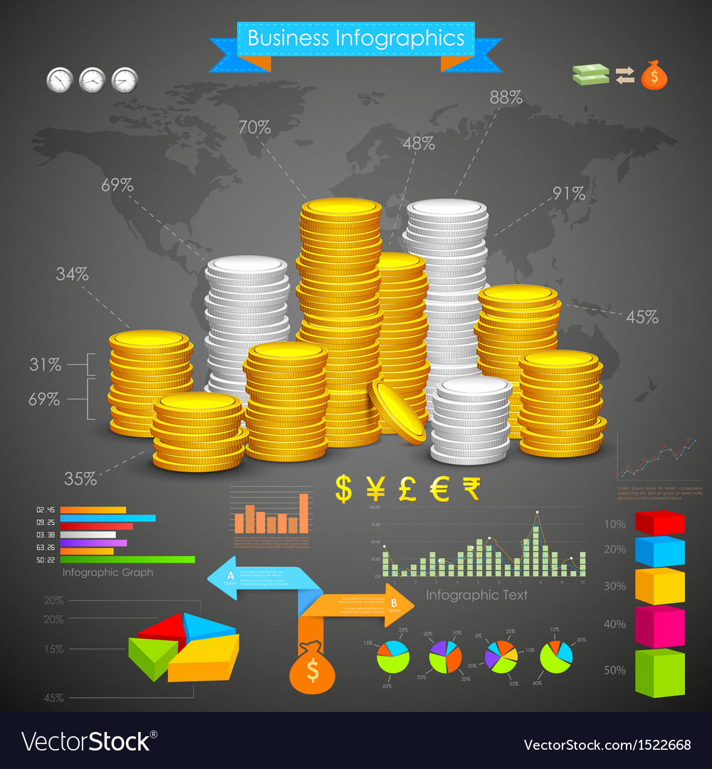 Coin bar graph business infograph vector | Price: 3 Credit (USD $3)