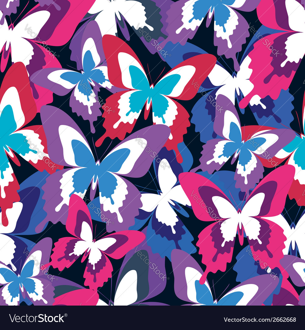 Colorful seamless pattern with butterfly vector | Price: 1 Credit (USD $1)