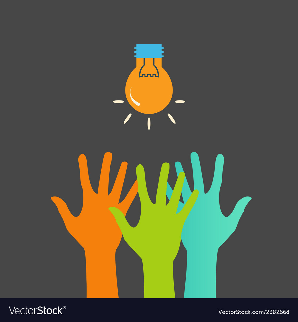 Hands and light bulb search ideas print vector | Price: 1 Credit (USD $1)