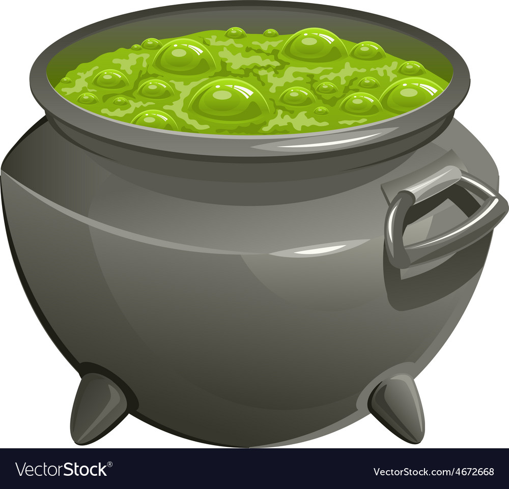 Pot with green magic potion vector | Price: 3 Credit (USD $3)