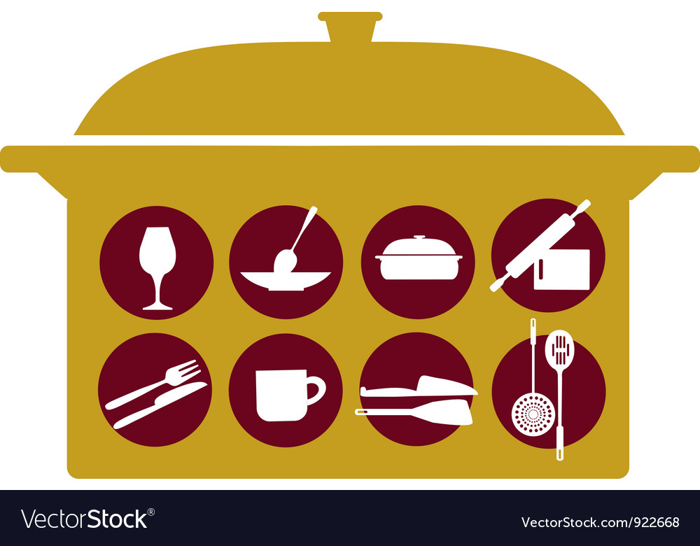 Pot with kitchenware set vector | Price: 1 Credit (USD $1)