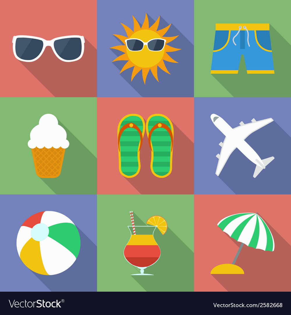Set of icons of summer travel theme modern flat vector | Price: 1 Credit (USD $1)
